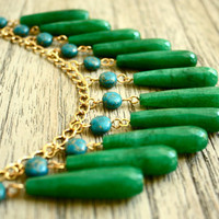 Green Jade and Turquoise Statement Necklace Bib by fourhandsNYC