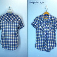 Vintage Mens Western Shirt / 70s Plaid Pearl Snap Shirt / Thin Soft / m