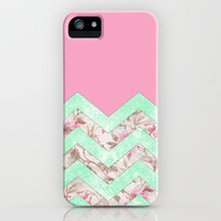 Girly Mint Green Pink Floral Block Chevron Pattern iPhone &amp; iPod Case by Girly Trend