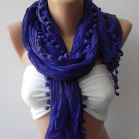 Pompom scarf ...purple scarf...Super Elegant scarf Cotton fabric - summer scarf / womens scarves