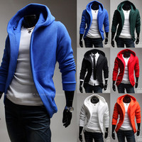 Simple Slim Fit Style Open Hoodie Jacket