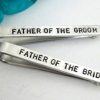 Father of the Bride and Groom Personalized Tie Clips (set of 2) - Hand Stamped Tie Clip - Men's Wedding Accessories - Wedding Party (001)
