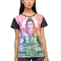 Motel Basic Rainbow Shiva Print T Shirt in Black