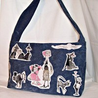 Denim Large Tote Bag Purse Diaper Bag Tie Handle Ghastlie Family