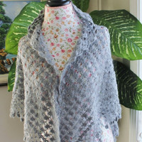 Ready to ship /GORGEOUS Handmade Crochet Smoky Gray SCARF/SHAWL- All Seasons