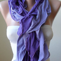 New Gift - Mother's Day Gift - Purple Ruffled Scarf - Combed Cotton