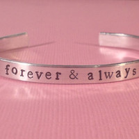 Taylor Swift Inspired - Forever & Always - Aluminium Cuff Bracelet - Hand Stamped - Customizable