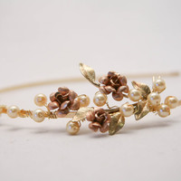 One of a kind vintage rose tiara with champagne pearls, wedding hair accessory