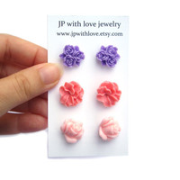 Flower Stud earrings pink and purple resin rose set of 3