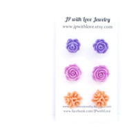 Purple Stud earrings, Flower stud earrings, lilac, peach, flower earrings, rose, jewelry, set of 3, bridesmaid gift, flower jewelry