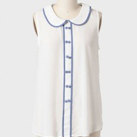 trixie chambray accent blouse in ivory at ShopRuche.com
