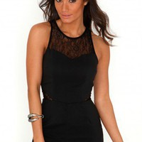 Missguided - Halia Lace Panel Playsuit In Black
