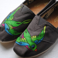 Colorful Swallows Custom Hand Painted TOMS by PaperHeartsCouncil