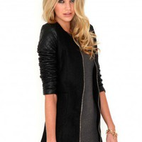 Missguided - Byellah Textured Coat With Quilted Sleeves In Black