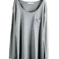 Gray Long Sleeves T-shirt with Single Chest Pocket