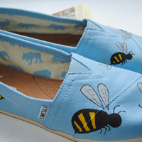 Hand Painted TOMS in a Bumble Bee Design by PaperHeartsCouncil