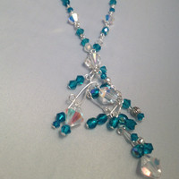 Handmade necklace Topaz blue and AB beaded cluster by meesshh