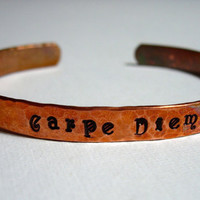 Carpe Diem Flame Finished Hand Hammered and Stamped copper Bracelet Bangle Cuff