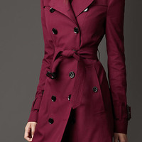 Mid-Length Technical Cotton Double Gun Flap Trench Coat