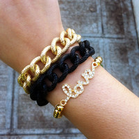 Double Wrap Black &amp; Gold Chain Link Bracelet
