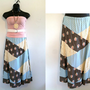 Vintage 70s Patchwork Maxi Skirt/Polka Dots/Lace/Hippie/Boho/