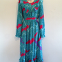 Vintage Dress- 70s Belted Giraffe and Geometric Print Maxi Dress in Turquoise and Hot Pink/Summer/Spring/Rainbow/Ruffles/Party/boho/Hippie
