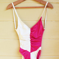 Vintage Hot Neon Pink and White Color Block Swimwear 1970s One Piece Bathing Suit by Sea Weed of California