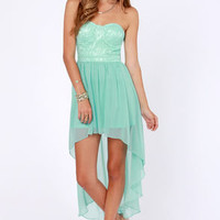 Keep a High-Low Profile Strapless Mint Dress
