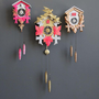 Large Gold &amp; Pink Cuckoo Clock. Working Condition