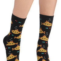 Wearable Whimsy Socks in Submarines | Mod Retro Vintage Socks | ModCloth.com