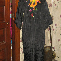 vintage Embroidered Dragon  Asian Robe Black Brocade Kimono Silky Rayon by Golden Bee sz m  unisex
