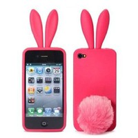 Sofe Cute Bunny Rabbit Ears Silicone Gel Cover Case For Iphone 4 4S 4G Pink:Amazon:Everything Else