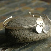 DOGWOOD - STERLING SILVER BANGLE | sophiapip - Jewelry on ArtFire