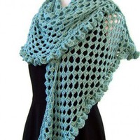 Ruffled Lace Shawl/Wrap in Blue Green Bamboo Blend - Handmade Crochet | CityStyle - Accessories on ArtFire