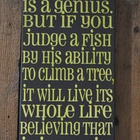 MomAppreciationSale Everybody is a Genius - Einstein Quote - Unique Canvas Art Typography, Wall Decor, Home, Dorm, Kids, Modern Art