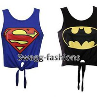 LADIES WOMEN SUPERMAN &amp; BATMAN PRINTED CROP TOP TIE T SHIRT VEST SIZE 8 10 12 14
