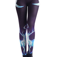 "ROMWE | ""Moonlight Elk"" Leggings, The Latest Street Fashion"