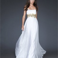A-line Strapless Chiffon Ruffed White/Gold Long Prom Dress PD1691