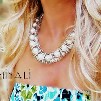 Minali ® - Bohemian Chic Jewelry / Perla - Pearl  Silver Woven Necklace by Minali