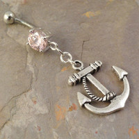 Anchor Belly Button Jewelry Light Pink Solitaire by MidnightsMojo