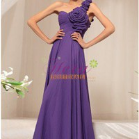 Ruffles Floral One Shoulder Sweetheart Neckline Purple Prom Dress With Flowers