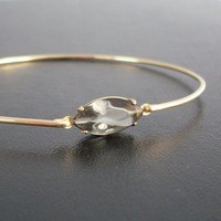 Bangle Bracelet Jinna - Gold Tone, Gray Rhinestone | FrostedWillow - Jewelry on ArtFire