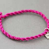 Wish Bracelet : Good Luck Bracelet, Bright Pink Cord, Charm, Silver, ArtisanTree, Stamped, Simple, Everyday, Bohemian