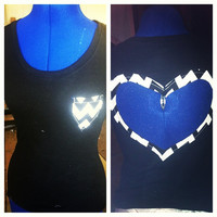 Black and white cut out chevron heart back tee by AngeliqueMerici