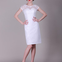 Lace Sweetheart Little White Vintage Reception Dress