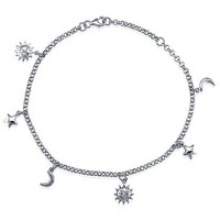 Sterling Silver Anklet Ankle Bracelet with Sun Moon Stars Charms #a024