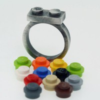 Antiqued Vintage Looking Lego Ring with interchangeable bricks | UBrickIt - Retro/Kitsch on ArtFire