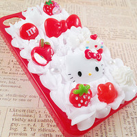Red iPhone 4/4S Case Decoden Phone Case with Strawberry Fruits Bow Flower Hello Kitty Cabochon Faux Pearl Flatbacks