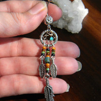 Dream Catcher Belly Ring with Nacozari Turquoise in The Southwestern Tribal Boho Hippi Belly Dancer Hipster Style