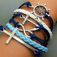 Crosses anchors rudders bracelet